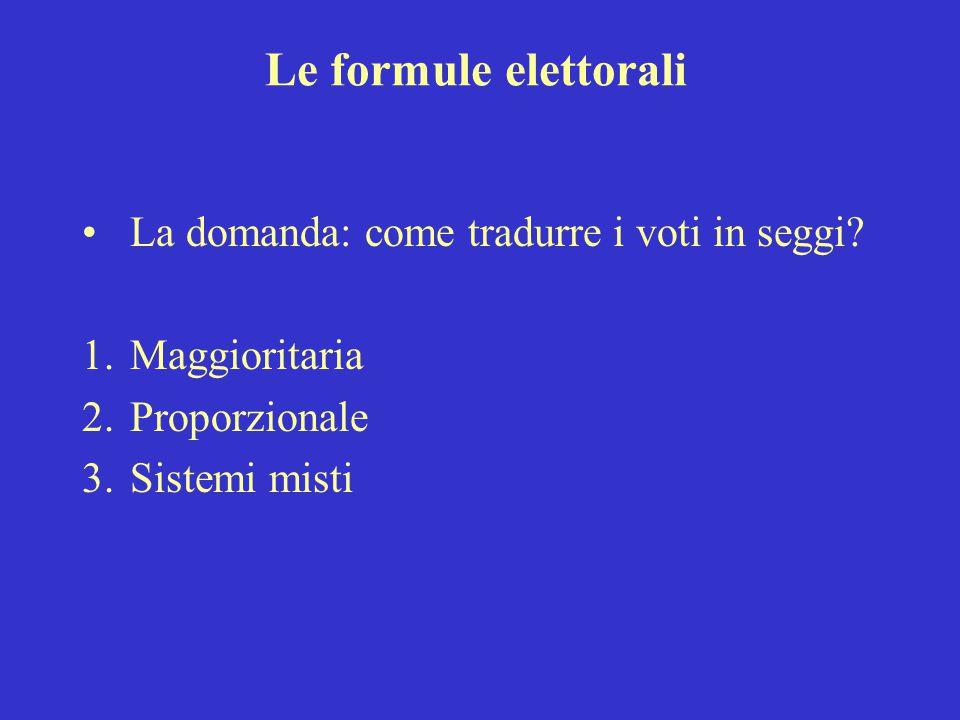 Le formule elettorali La domanda: come tradurre i voti in seggi? 1.Maggioritaria 2.Proporzionale 3.Sistemi misti