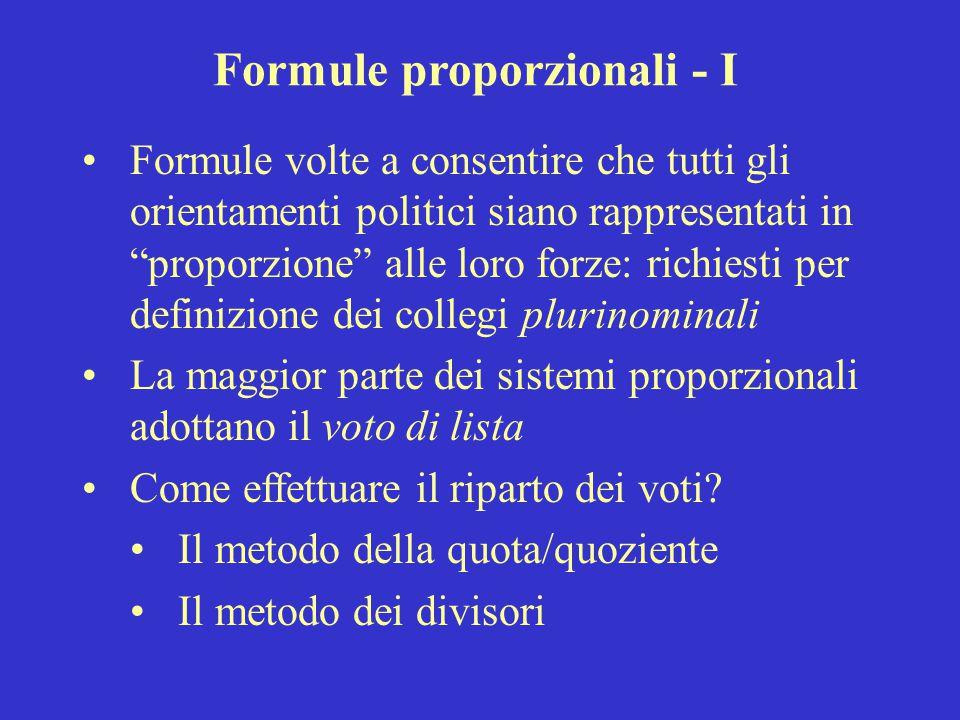 """Formule proporzionali - I Formule volte a consentire che tutti gli orientamenti politici siano rappresentati in """"proporzione"""" alle loro forze: richies"""