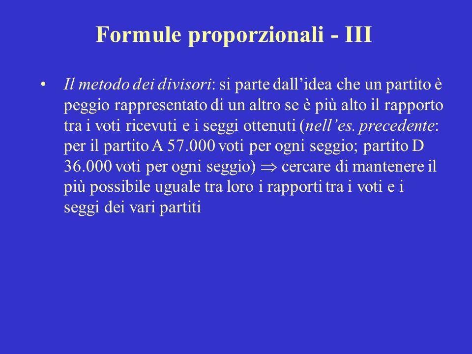 Formule proporzionali - III Il metodo dei divisori: si parte dall'idea che un partito è peggio rappresentato di un altro se è più alto il rapporto tra