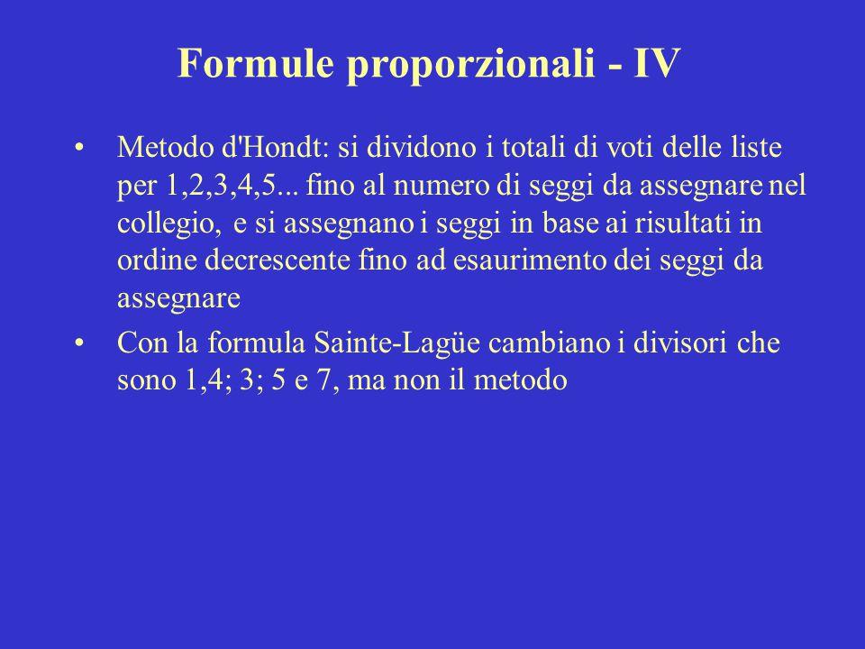 Formule proporzionali - IV Metodo d'Hondt: si dividono i totali di voti delle liste per 1,2,3,4,5... fino al numero di seggi da assegnare nel collegio