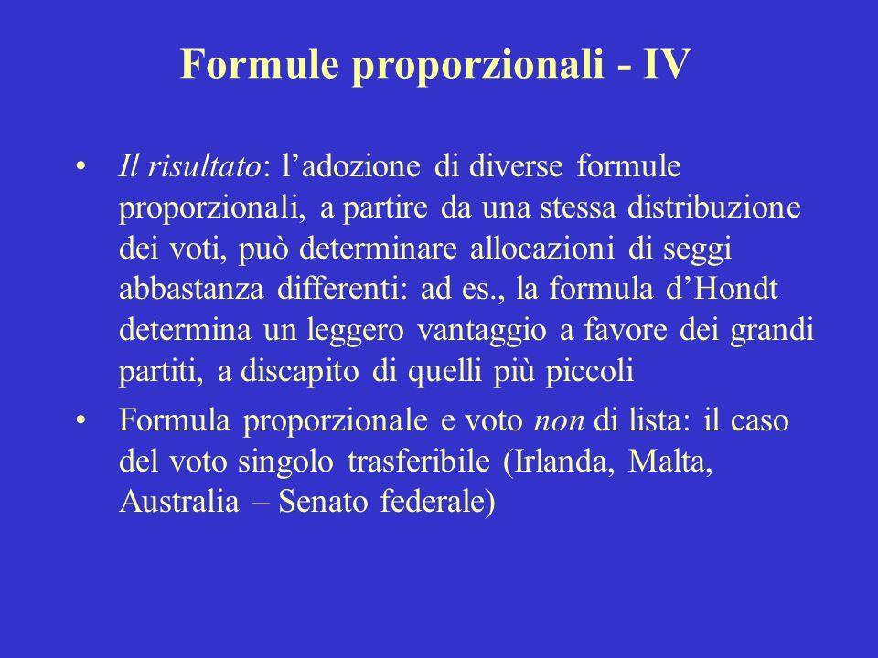 Formule proporzionali - IV Il risultato: l'adozione di diverse formule proporzionali, a partire da una stessa distribuzione dei voti, può determinare