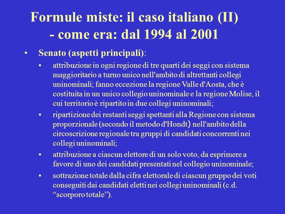 Formule miste: il caso italiano (II) - come era: dal 1994 al 2001 Senato (aspetti principali): attribuzione in ogni regione di tre quarti dei seggi co