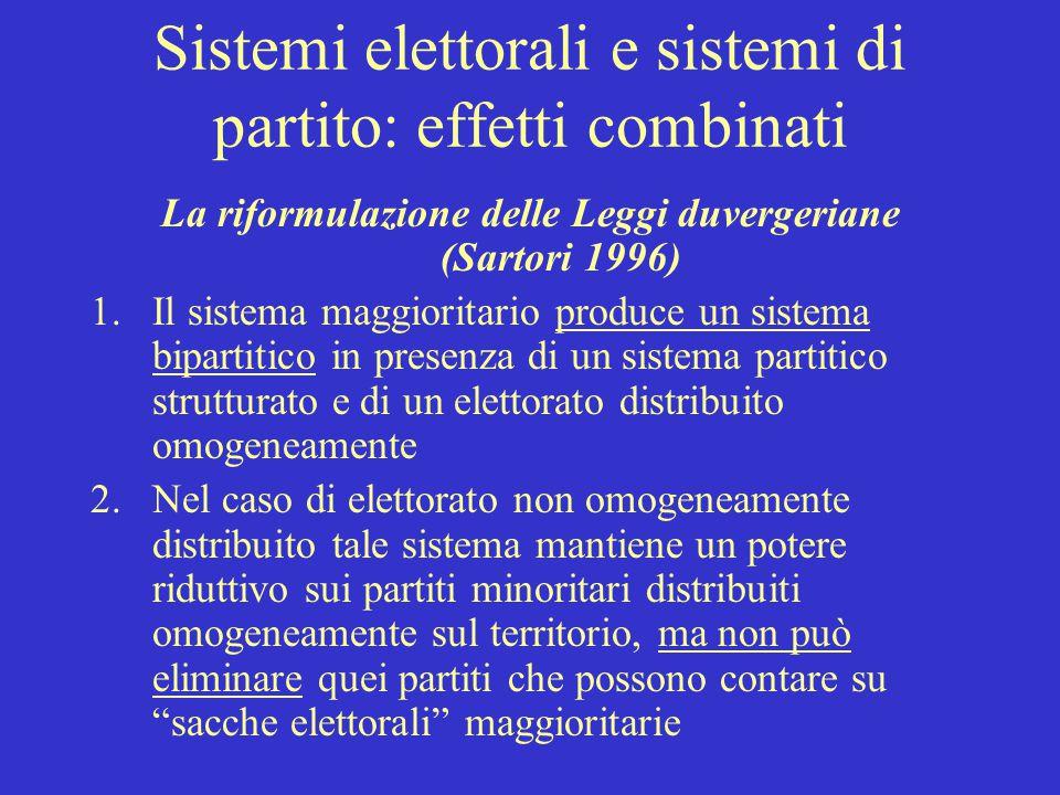 Sistemi elettorali e sistemi di partito: effetti combinati La riformulazione delle Leggi duvergeriane (Sartori 1996) 1.Il sistema maggioritario produc