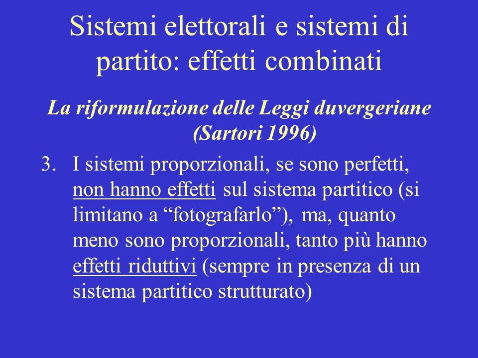 Sistemi elettorali e sistemi di partito: effetti combinati La riformulazione delle Leggi duvergeriane (Sartori 1996) 3.I sistemi proporzionali, se son