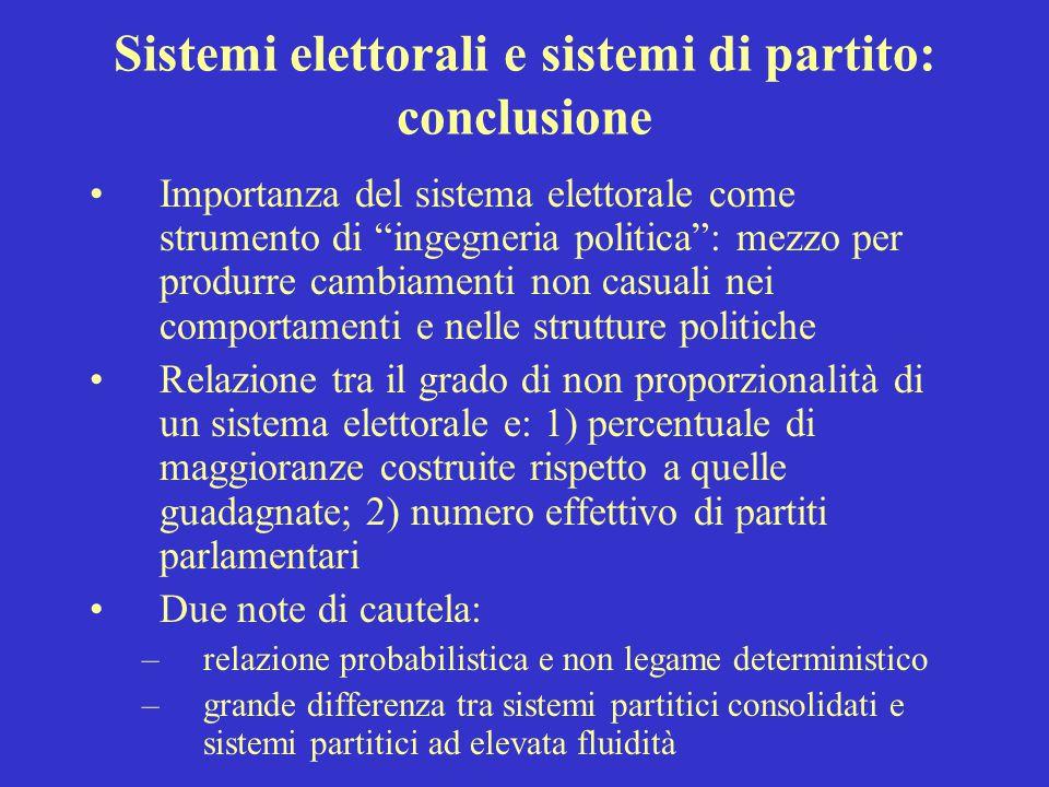 """Sistemi elettorali e sistemi di partito: conclusione Importanza del sistema elettorale come strumento di """"ingegneria politica"""": mezzo per produrre cam"""