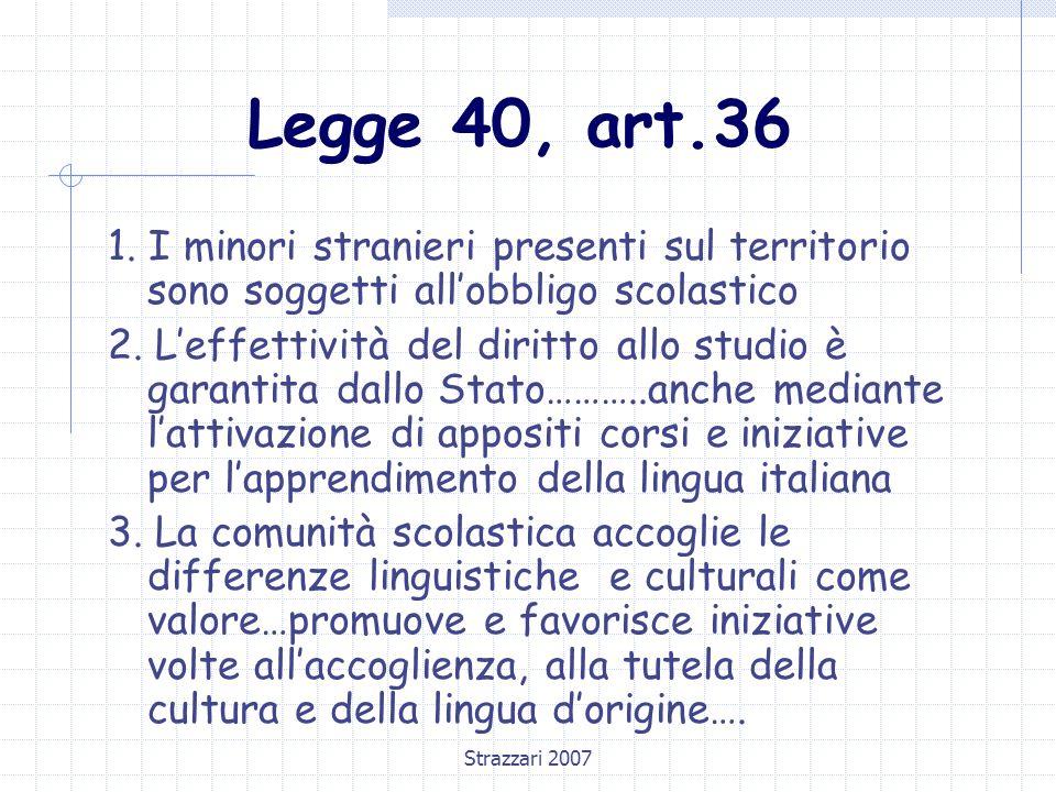 Strazzari 2007 Legge 40, art.36 1. I minori stranieri presenti sul territorio sono soggetti all'obbligo scolastico 2. L'effettività del diritto allo s