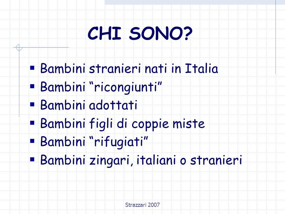 """Strazzari 2007 CHI SONO?  Bambini stranieri nati in Italia  Bambini """"ricongiunti""""  Bambini adottati  Bambini figli di coppie miste  Bambini """"rifu"""