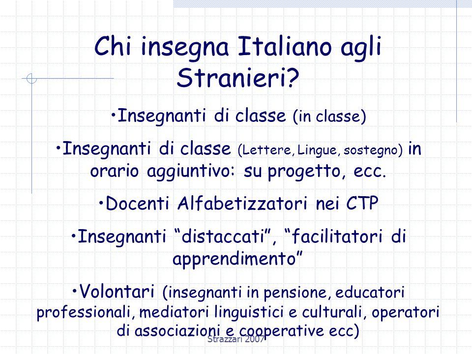 Strazzari 2007 Facilitatori linguistici Il facilitatore linguistico o insegnante di Italiano L2 ha compiti didattici : Definisce i bisogni di apprendimento dell'alunno straniero Elabora una programmazione individualizzata Individua/elabora i materiali didattici
