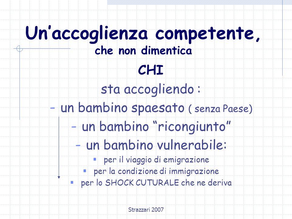 """Strazzari 2007 Un'accoglienza competente, che non dimentica CHI sta accogliendo : - un bambino spaesato ( senza Paese) - un bambino """"ricongiunto"""" - un"""