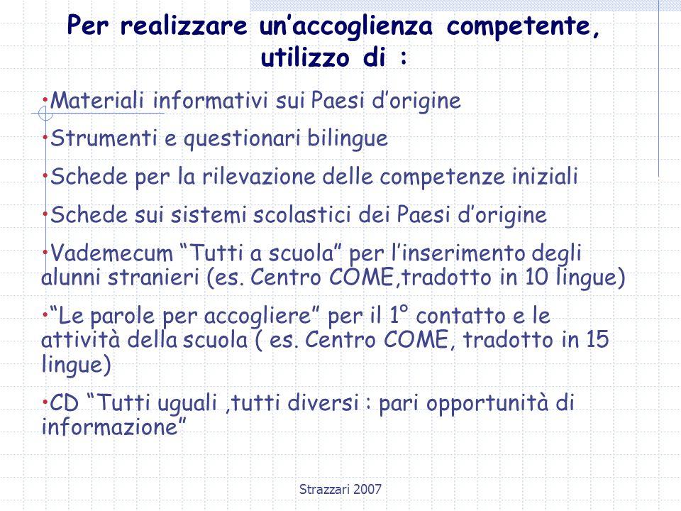 Strazzari 2007 Per realizzare un'accoglienza competente, utilizzo di : Materiali informativi sui Paesi d'origine Strumenti e questionari bilingue Sche