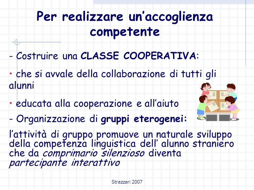 Strazzari 2007 Per realizzare un'accoglienza competente - Costruire una CLASSE COOPERATIVA: che si avvale della collaborazione di tutti gli alunni edu