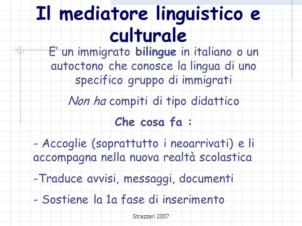Strazzari 2007 Il mediatore linguistico e culturale E' un immigrato bilingue in italiano o un autoctono che conosce la lingua di uno specifico gruppo