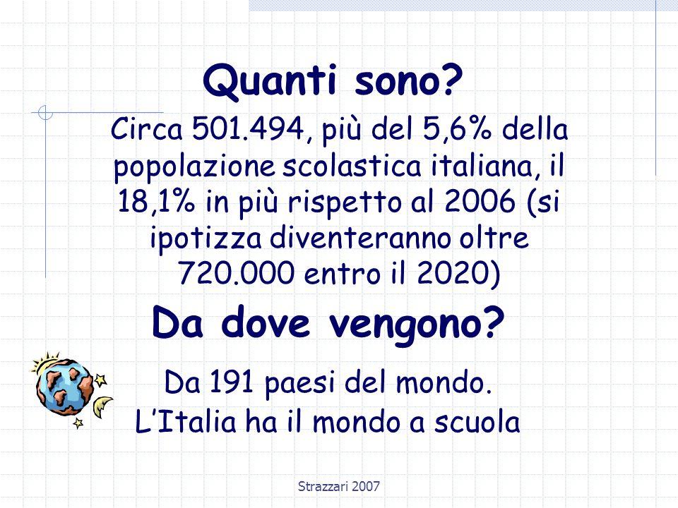 Strazzari 2007 Quanti sono? Circa 501.494, più del 5,6% della popolazione scolastica italiana, il 18,1% in più rispetto al 2006 (si ipotizza diventera