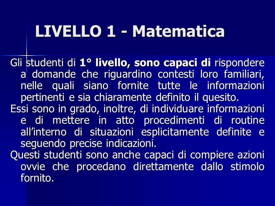 LIVELLO 1 - Matematica Gli studenti di 1° livello, sono capaci di rispondere a domande che riguardino contesti loro familiari, nelle quali siano fornite tutte le informazioni pertinenti e sia chiaramente definito il quesito.