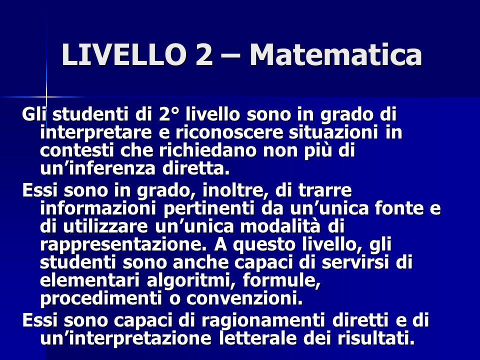 LIVELLO 2 – Matematica Gli studenti di 2° livello sono in grado di interpretare e riconoscere situazioni in contesti che richiedano non più di un'inferenza diretta.