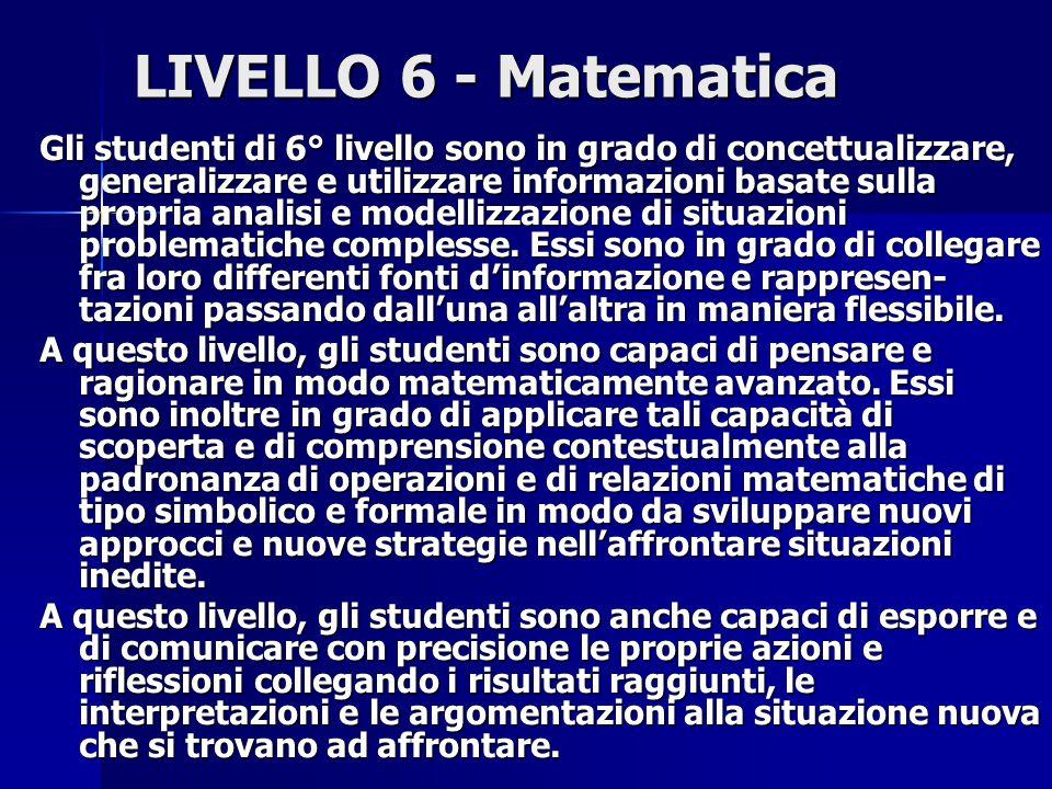 LIVELLO 6 - Matematica Gli studenti di 6° livello sono in grado di concettualizzare, generalizzare e utilizzare informazioni basate sulla propria analisi e modellizzazione di situazioni problematiche complesse.