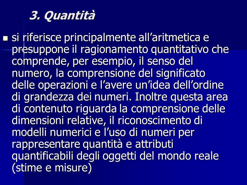 3. Quantità si riferisce principalmente all'aritmetica e presuppone il ragionamento quantitativo che comprende, per esempio, il senso del numero, la c