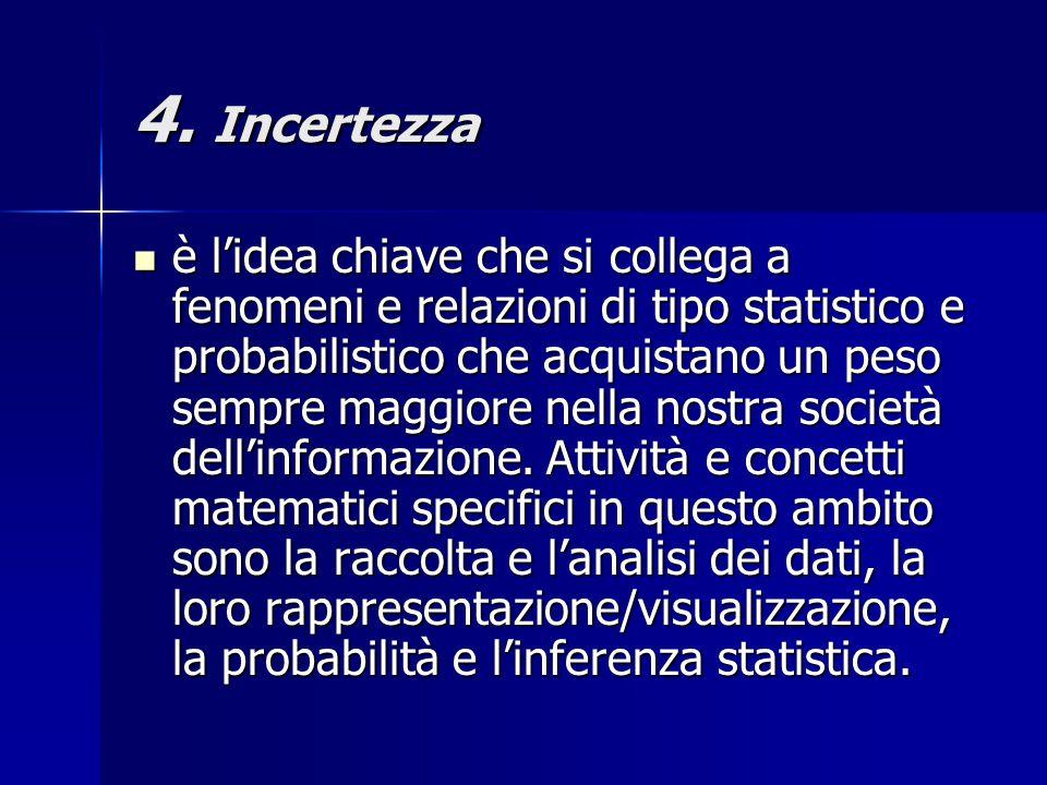 4. Incertezza è l'idea chiave che si collega a fenomeni e relazioni di tipo statistico e probabilistico che acquistano un peso sempre maggiore nella n