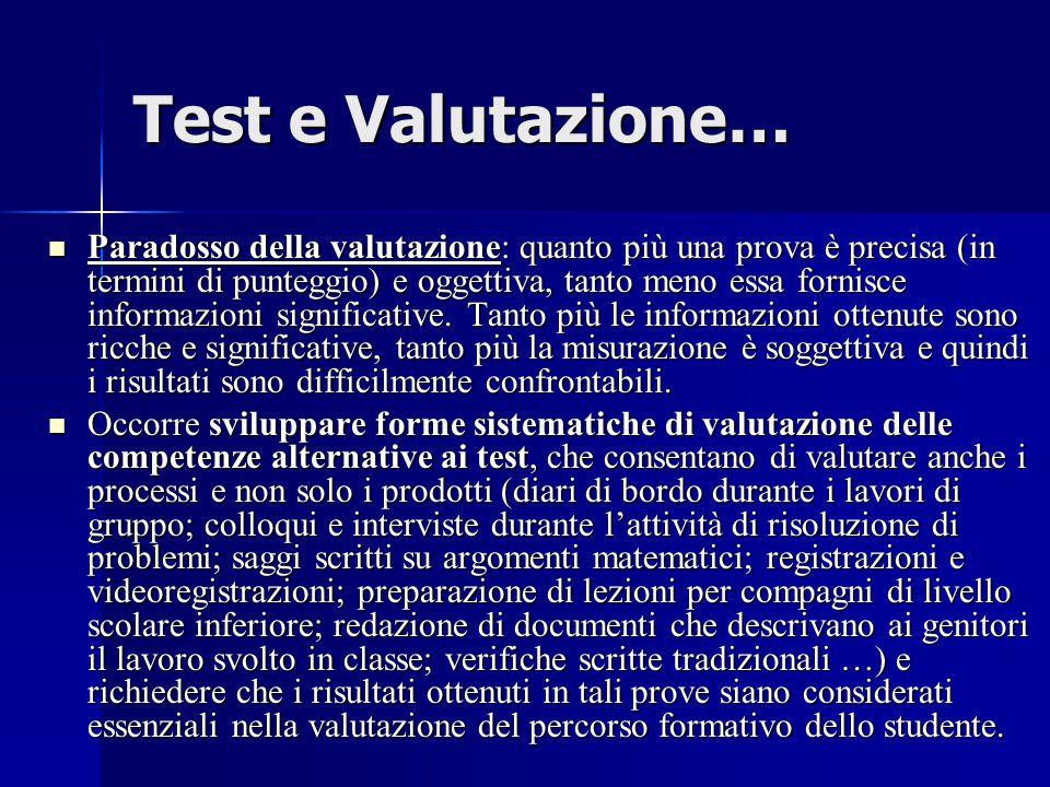 Test e Valutazione… Paradosso della valutazione: quanto più una prova è precisa (in termini di punteggio) e oggettiva, tanto meno essa fornisce informazioni significative.