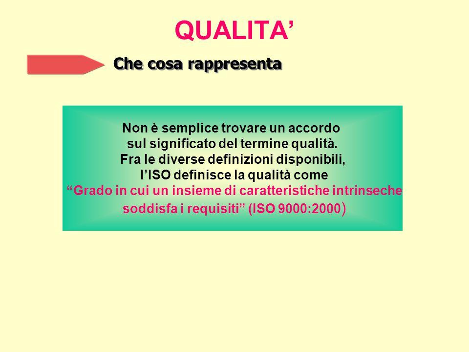 QUALITA' Che cosa rappresenta Non è semplice trovare un accordo sul significato del termine qualità.
