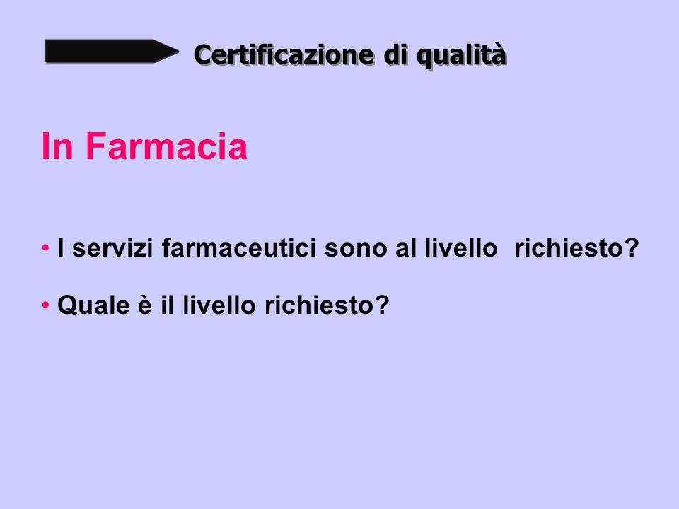 Certificazione di qualità In Farmacia I servizi farmaceutici sono al livello richiesto.