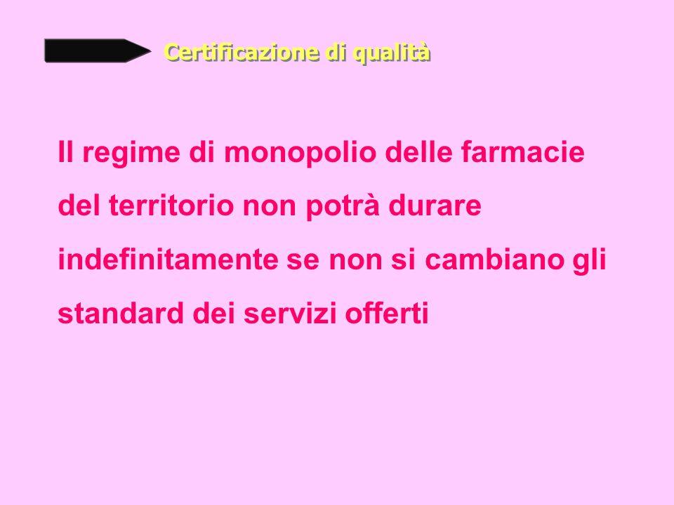 Certificazione di qualità Il regime di monopolio delle farmacie del territorio non potrà durare indefinitamente se non si cambiano gli standard dei servizi offerti
