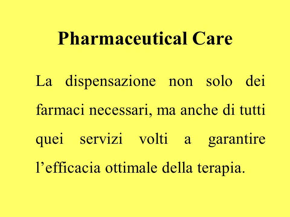 Pharmaceutical Care La dispensazione non solo dei farmaci necessari, ma anche di tutti quei servizi volti a garantire l'efficacia ottimale della terapia.