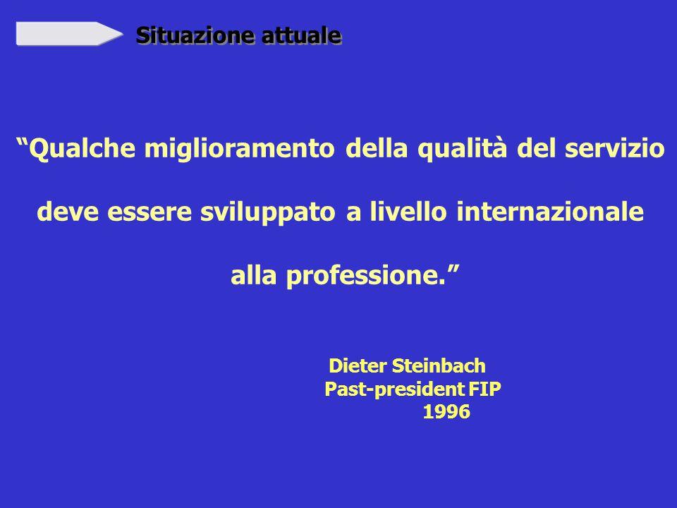 Situazione attuale Qualche miglioramento della qualità del servizio deve essere sviluppato a livello internazionale alla professione. Dieter Steinbach Past-president FIP 1996