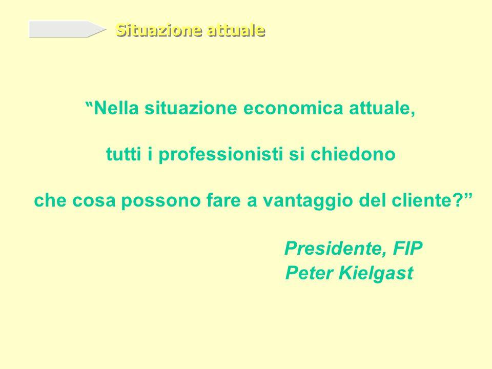 Nella situazione economica attuale, tutti i professionisti si chiedono che cosa possono fare a vantaggio del cliente Peter Kielgast Presidente, FIP Situazione attuale