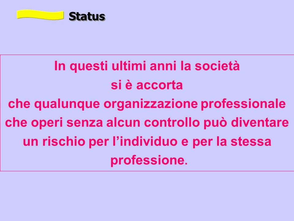 In questi ultimi anni la società si è accorta che qualunque organizzazione professionale che operi senza alcun controllo può diventare un rischio per l'individuo e per la stessa professione.