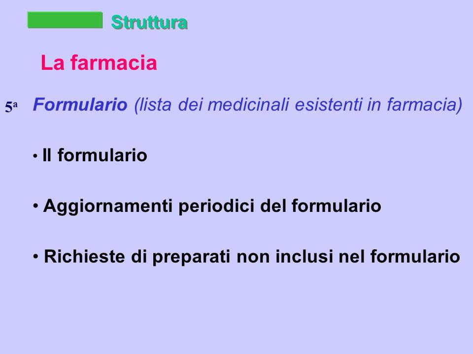 Struttura La farmacia Formulario (lista dei medicinali esistenti in farmacia) Il formulario Aggiornamenti periodici del formulario Richieste di preparati non inclusi nel formulario 5a5a