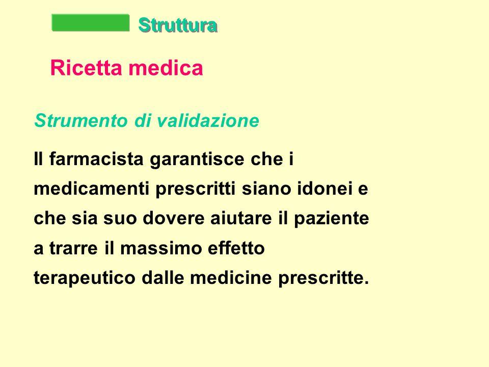Struttura Ricetta medica Strumento di validazione Il farmacista garantisce che i medicamenti prescritti siano idonei e che sia suo dovere aiutare il paziente a trarre il massimo effetto terapeutico dalle medicine prescritte.