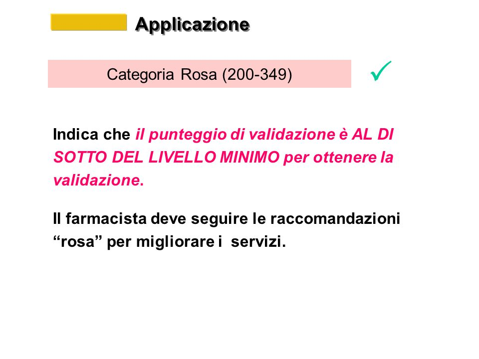 Applicazione Categoria Rosa (200-349) Indica che il punteggio di validazione è AL DI SOTTO DEL LIVELLO MINIMO per ottenere la validazione.