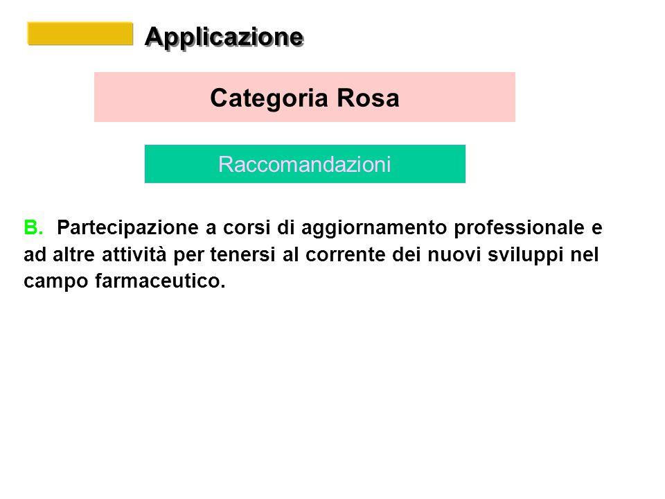 Applicazione Categoria Rosa Raccomandazioni B.Partecipazione a corsi di aggiornamento professionale e ad altre attività per tenersi al corrente dei nuovi sviluppi nel campo farmaceutico.