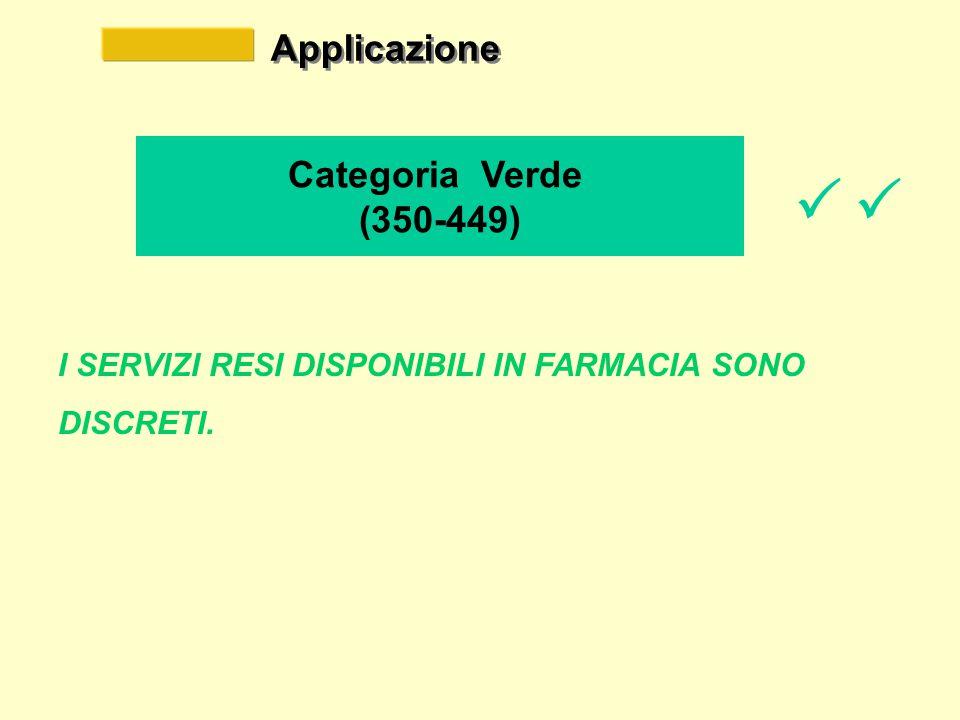 Applicazione Categoria Verde (350-449) I SERVIZI RESI DISPONIBILI IN FARMACIA SONO DISCRETI.   