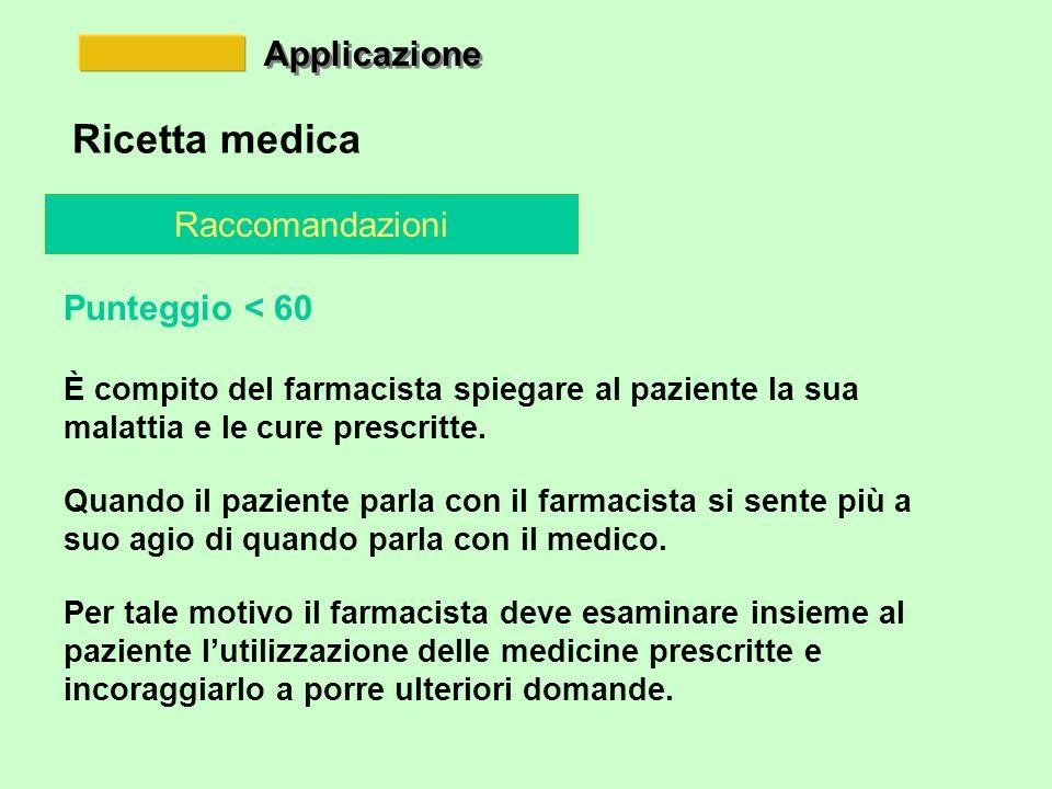 Applicazione Ricetta medica Raccomandazioni Punteggio < 60 È compito del farmacista spiegare al paziente la sua malattia e le cure prescritte.