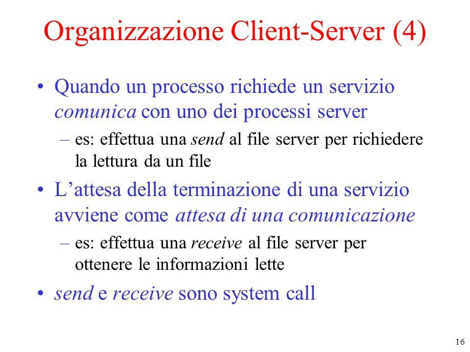 16 Organizzazione Client-Server (4) Quando un processo richiede un servizio comunica con uno dei processi server –es: effettua una send al file server per richiedere la lettura da un file L'attesa della terminazione di una servizio avviene come attesa di una comunicazione –es: effettua una receive al file server per ottenere le informazioni lette send e receive sono system call