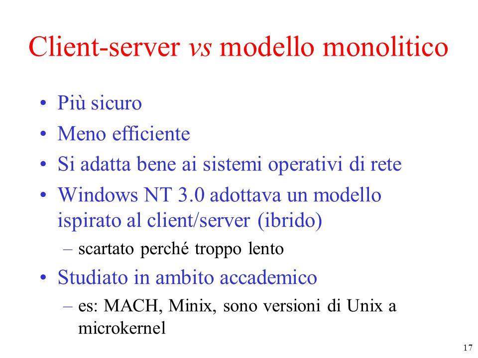 17 Client-server vs modello monolitico Più sicuro Meno efficiente Si adatta bene ai sistemi operativi di rete Windows NT 3.0 adottava un modello ispirato al client/server (ibrido) –scartato perché troppo lento Studiato in ambito accademico –es: MACH, Minix, sono versioni di Unix a microkernel