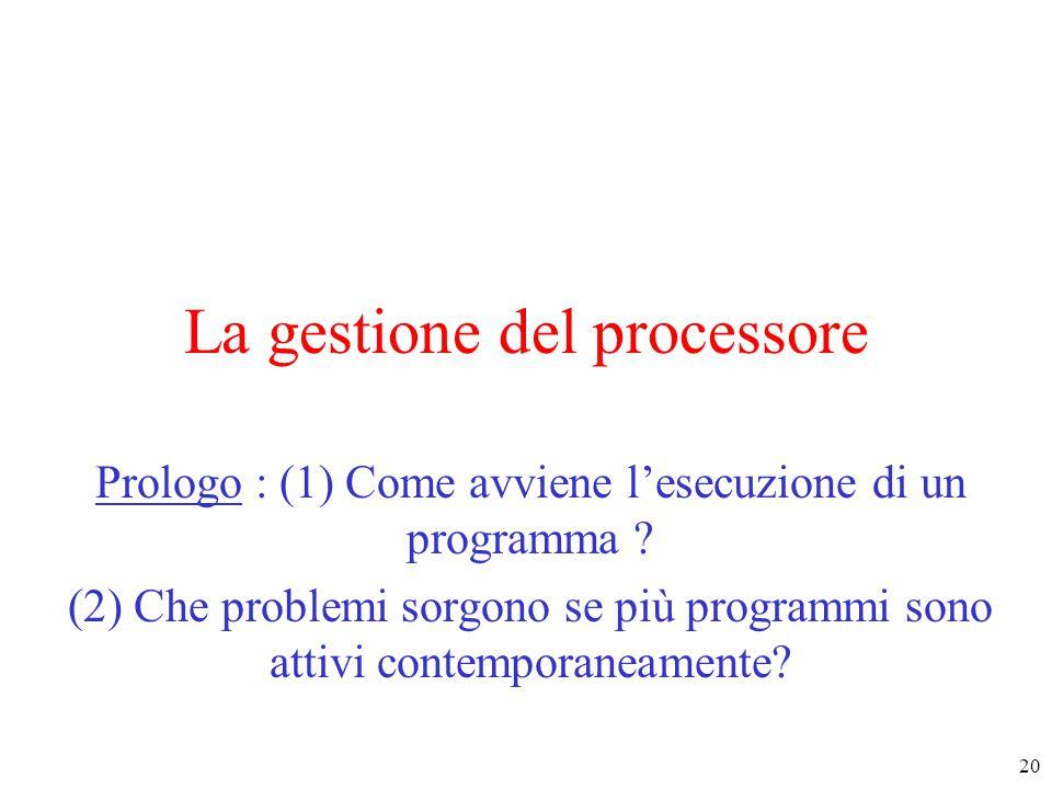 20 La gestione del processore Prologo : (1) Come avviene l'esecuzione di un programma .