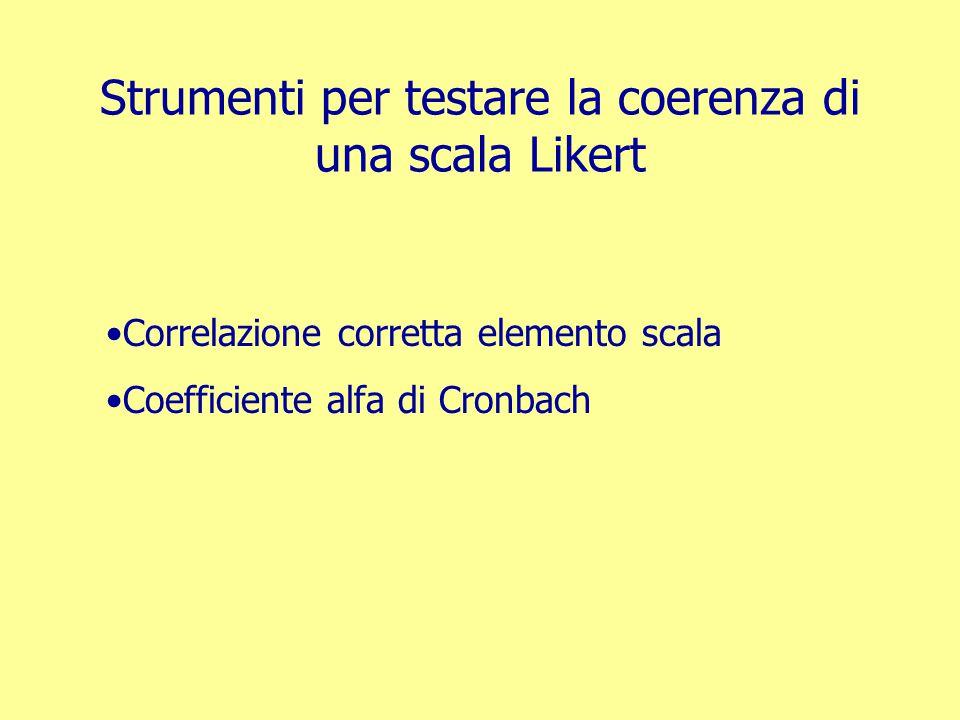 Correlazione corretta elemento scala Calcola, per ogni soggetto, la correlazione fra il punteggio espresso sul singolo elemento e il punteggio complessivo da lui espresso sui restanti elementi