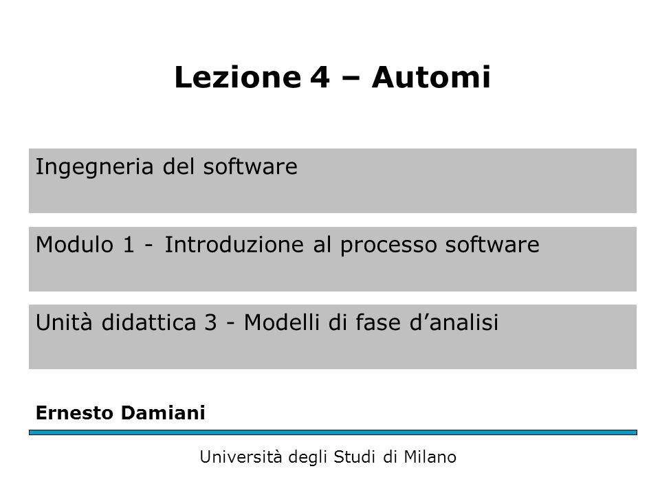 Ingegneria del software Modulo 1 -Introduzione al processo software Unità didattica 3 - Modelli di fase d'analisi Ernesto Damiani Università degli Studi di Milano Lezione 4 – Automi