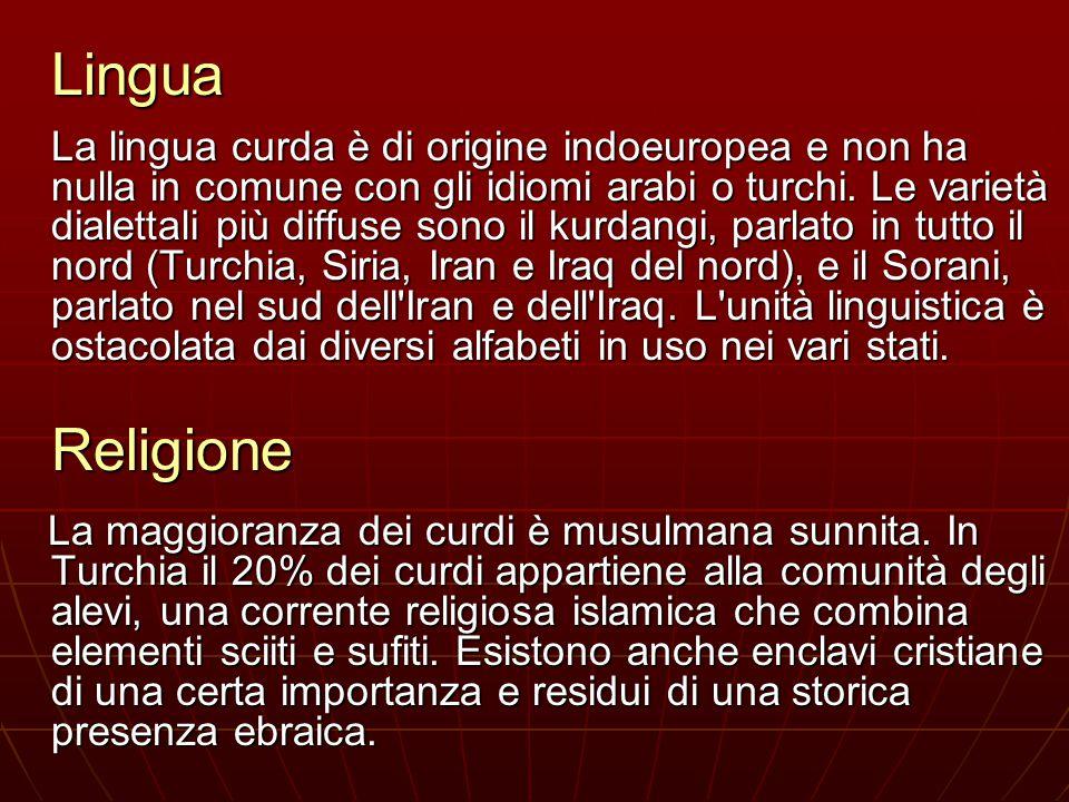 Lingua La lingua curda è di origine indoeuropea e non ha nulla in comune con gli idiomi arabi o turchi. Le varietà dialettali più diffuse sono il kurd