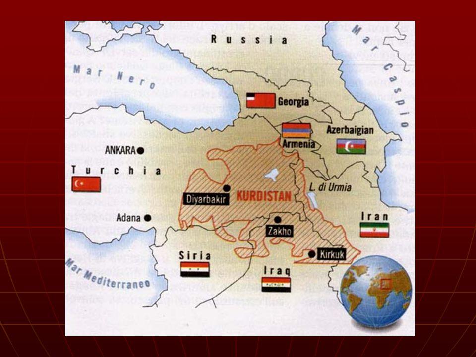 Fra questi stati, la popolazione è così ripartita: Fra questi stati, la popolazione è così ripartita: Turchia (stima 2001) 16.143.000 = 23,8% Turchia (stima 2001) 16.143.000 = 23,8% Iran (stima 2001) 6.452.000 = 10% Iran (stima 2001) 6.452.000 = 10% Iraq (stima 1997) 5.504.000 = 25% Iraq (stima 1997) 5.504.000 = 25% Siria (stima 2001) 1.672.000 = 10% Siria (stima 2001) 1.672.000 = 10% percentuale sulla popolazione totale