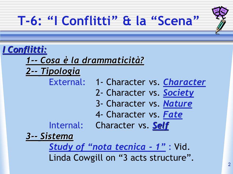 "2 T-6: ""I Conflitti"" & la ""Scena"" I Conflitti: 1-- Cosa è la drammaticità? 2-- 2-- Tipologia External: 1- Character vs. Character 2- Character vs. Soc"