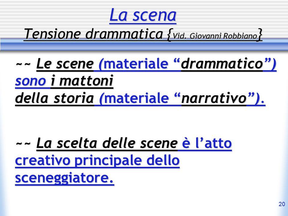 """20 La scena Tensione drammatica { Vid. Giovanni Robbiano } ~~ Le scene (materiale """"drammatico"""") sono i mattoni della storia (materiale """"narrativo""""). ~"""