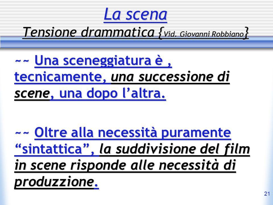 21 La scena Tensione drammatica { Vid. Giovanni Robbiano } ~~ Una sceneggiatura è, tecnicamente, una successione di scene, una dopo l'altra. ~~ Oltre