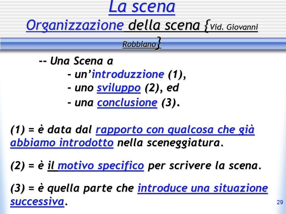 29 La scena Organizzazione della scena { Vid. Giovanni Robbiano } -- Una Scena a - un'introduzzione (1), - uno sviluppo (2), ed - una conclusione (3).