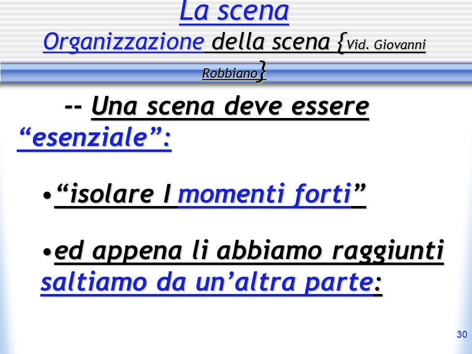 """30 La scena Organizzazione della scena { Vid. Giovanni Robbiano } -- Una scena deve essere """"esenziale"""": """"isolare I momenti forti""""""""isolare I momenti fo"""