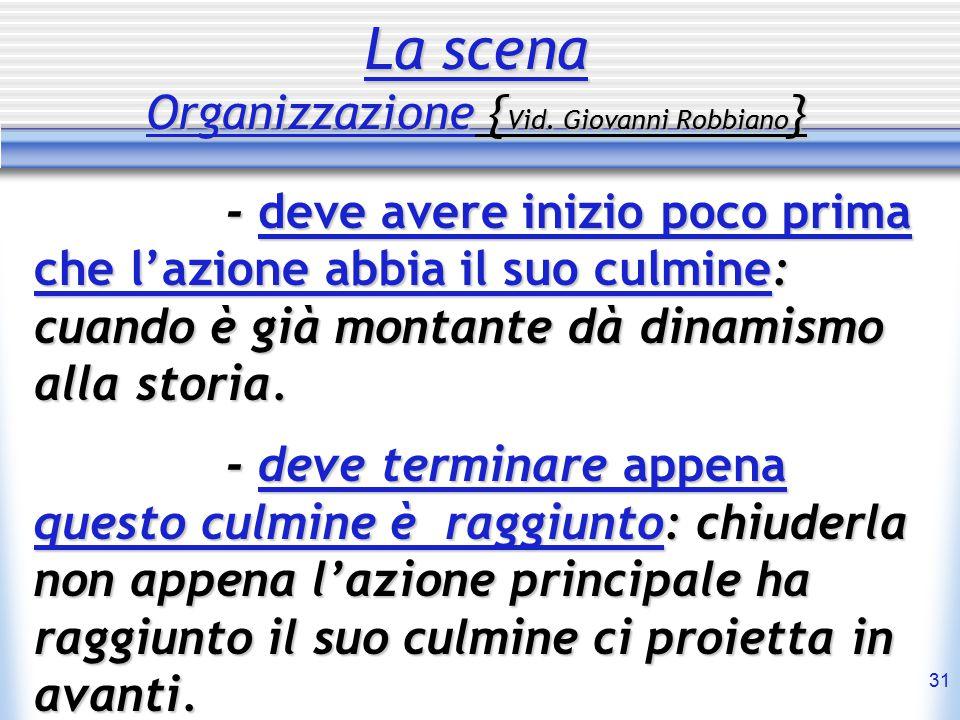 31 La scena Organizzazione { Vid.