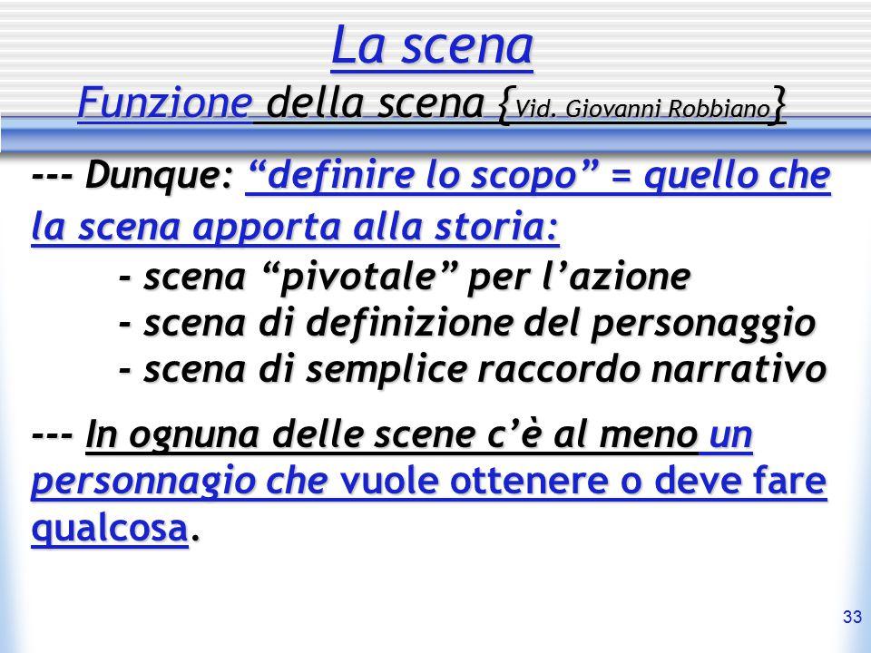 """33 La scena Funzione della scena { Vid. Giovanni Robbiano } --- Dunque: """"definire lo scopo"""" = quello che la scena apporta alla storia: - scena """"pivota"""